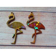 Gold Foiled MDF Flamingo 65mm